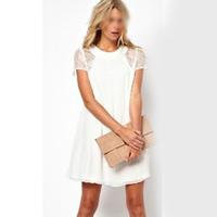 2014 fashion new fashion women lace short sleeve white back chiffon sexy casual lace dress Plu Women's Dress