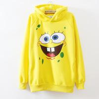 New 2014 Hot Sale Fashion Casual Autumn Women Hoodies Korean The Cartoon SpongeBob Hooded Sweater Cute Women Hoodies Sweatshirts