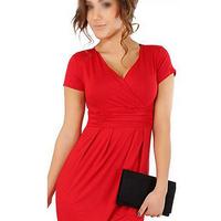 2014  FASHION Elegant Celebrity V-neck Short Sleeve Knee-length Cotton Casual tunic Beach Women Dresses