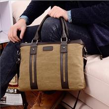 Cotton fabric Business men's canvas crazy horse Vintage Bag men Messenger Bags Manufacturer laptop men's briefcases bag(China (Mainland))