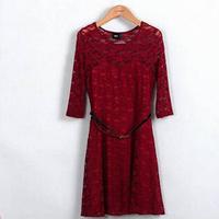 2014 fashion new  women lace short sleeve white back chiffon sexy casual lace dress Plu Women's Dress