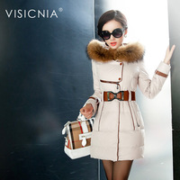 2014 Female Coat Medium-long Down Slim Large Fur Collar Long-sleeve With A Hood Thickening Outerwear