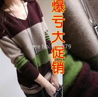 14 autumn and winter women wide stripe medium-long marten velvet basic cashmere sweater shirt