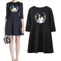 Embroidery Print Casual Womens Dresses Three Quarter Sleeve Scoop Collar Fashion Casual Dress Brands 2014 Vestidos Femininos