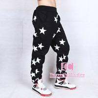 Hip Hop Fashion Star Print Men Sports Pants / Cotton Elastic Waist Men Casual Pants / Black Blue Trousers M-3XL