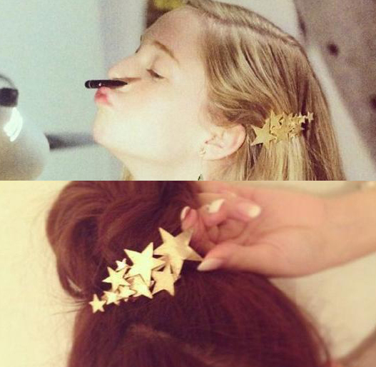 New Arrival Metal Hair Accessories Gold Plated Full Star Hairpins Hair Clip For Women SF660(China (Mainland))