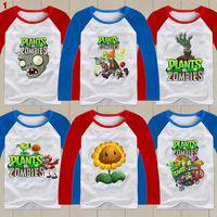 2014 Free shipping Plants vs Zombies T-shirt 100% cotton Children's clothes Children Plants vs zombies long-sleeve T-shirt