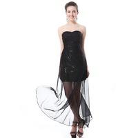 2014 Tube Top Dress Short Dress Princess Black Sequined Evening Dress Sexy See-through Prom Formal Dress
