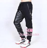 Faux PU Leather Patchwork Cotton Fashion Men Pants / Hip Hop Zipper Adjustable Drawstring Men Casual Pants / Black M-3XL