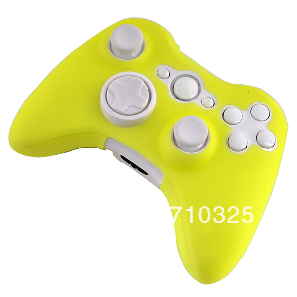 2 PCS/LOT Protective Skin Silicone Case For Xbox 360 Wireless Controller Shine Yellow colors(China (Mainland))