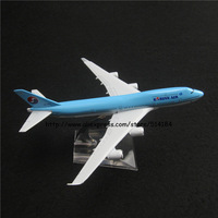 16cm Alloy Metal Korean Air Airlines Boeing 747 B747 400 Airways Plane Model Aircraft Airplane Model w Stand Aircraft Toy Gift
