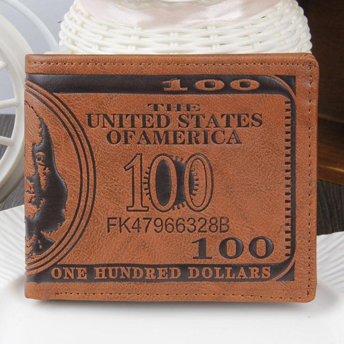moda! 2014 novo dólar americano bill carteira marrom pu couro carteira bif
