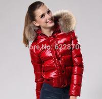 2014 Raccoon Fur+MON Duck down coat women Winter short jacket,winter outerwear,Raccon leather jackets Parkas Women mon 305