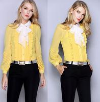 High Quality New Fashion European Style Blouses Women Sequin Beading Collar Long Sleeve Blouse Retro Bow Shirt Tops Elegant