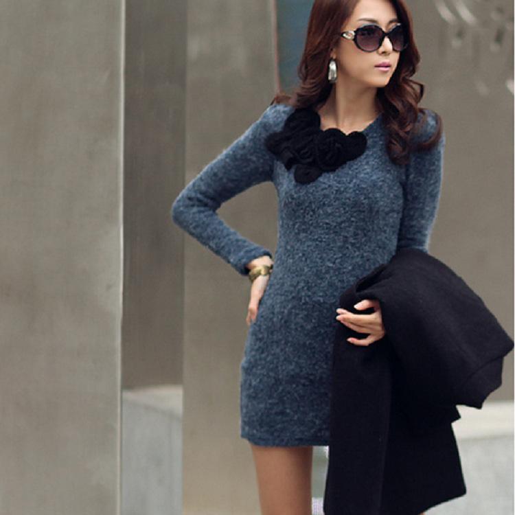 women long sweater dress Round Neck Long Sleeves winter Pullover bottoming dress Wool Knitwear 253(China (Mainland))