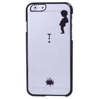 New High Quality Mobile Phone Cover Manneken Pis Pattern Ultra Thin Plating Border Transparent Plastic Case for iPhone 6