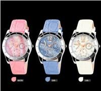 2014 New Women Dress Watches  Waterproof Genuine Leather Strap Fashion Quartz Watch Student Wristwatch 3COLORS Free ship