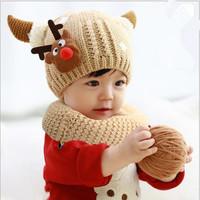 2pieces/set  Winter Children Skullies & Beanies Scarf Hat Set Baby Boys Girls Knitted Kids Hats & Caps Set Christmas Gift  #1209