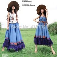 Free Shipping 2014 Vintage National Elastic Waist Long Maxi A-line Women Skirts With Big Hem Denim And Chiffon Patchwork Skirts