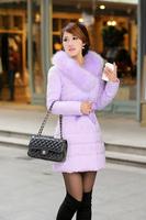 winter duck down jacket women long 2014 Korean version of the Slim Down fur collar thick warm cotton lace