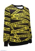 Fashion Blusas Moletons Feminino Police Line Intertwined Print Sweatshirt camisetas femininas LC25243