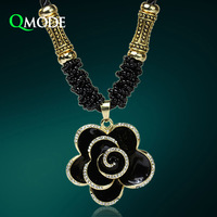 QMODE Fashion Antique Camellia Long Sweater Chain Necklace Black Crystal Rose Flowers Retro Long Necklace Pendant for Christmas