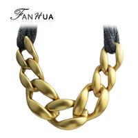 Gunblack Gold Color Punk Necklace Alloy Chain Collar Necklace Women Accessories Wholesale Price