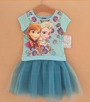 2014 design free shipping frozen girl girls short sleeve dress anna and elsa