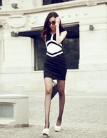 2014 New Summer Women's Tight Black White Color Patchwork Slim Dresses,Free Shipping