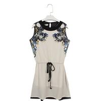 2014 new fashion Casual Women dress Printed dress  sales Summer Women's clothing Chiffon Pinched Waist