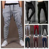 nieuwe stijl harembroek mode casual sport broek mager 2014 trainingsbroek broeken druppel kruis joggen broek mannen joggers sarouel
