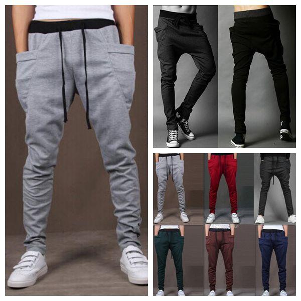 Harem Pants New Style Fashion 2015 Casual Skinny Sweatpants Sport Pants Trousers Drop Crotch Jogging Pants Men Joggers Sarouel(China (Mainland))