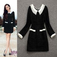 Top Quality New Celebrity Fashion 2014 Autumn Winter Women V-Neck Contrast Color Block Wool Dress Slim Fitted Elegant Dress XL