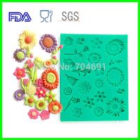 20PCS/LOT Flower Shapes Gum Paste Silicone Mold Fondant Cake Mold DIY