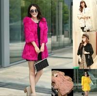 2014 new Haining imitation rabbit fur Slim 7 points sleeve long section fur coat women