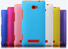 1pcs Clear screen protector + Colorful Rubber Matte Hard Back Case For HTC Windows Phone 8X C620e Mix color,Free Shipping(China (Mainland))