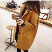 Autumn Winter Korea Style Woolen Coats 2014  Full Solid  Winter Coat Women Trench Blends B705