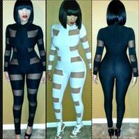 New Women 2014 Sexy Jumpsuits Mesh Insert Panel Long Sleeve Bandage Jumpsuit Bodysuit BP4050
