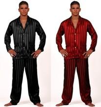 Luxury Mens Silk Satin Pajamas Pajama Pyjamas PJS Sleepwear Sleepcoat Set U.S.S,M,L,XL,2XL,3XL(China (Mainland))