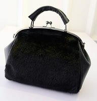 Free shipping 2015 new Korean fashion rabbit fur bag double flashes ladies bag shoulder handbag baodan fashion handbags