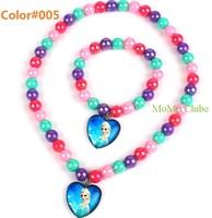 Frozen children's necklace bracelet set Princess Anna queen elsa heart-shaped pendant mixed beads christmas gift hot selling