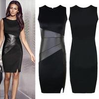Women's Sexy Black Dresses Faux Leather Patchwork Sleeveless O-Neck Sheath Bodycon Dresses Ladies Fashion Evening Dress D11601