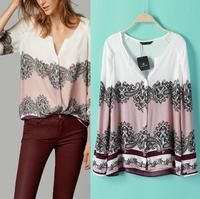 blusas femininas 2014 Women Blouse Vintage Totem Print OL Ladies' Tops Elegant V Neck Long sleeve Casual Women Brand Cheer Shirt