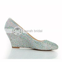 Hot New Arrival 2015 Fashion Wedding Shoes For Women Crystal Wedges Round Toe Shoes Rhinstone Low Wedge Heels LSDN-1065