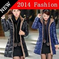 2014 new fashion winter casual long jacket women plus size brand woman parka cotton slim solid desigual female coat 1027LX