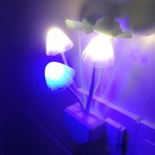 1PCS EU Plug Romantic Colorful LED Mushroom Night Light Bed Lamp Home Illumination L0142411
