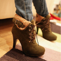 Free shipping 2014 New Winter Women String Fur Ankle Boots Leather Flocking High Heels Red Bottom Shoes Plus Size EU 34-43