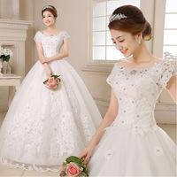 2015 New Arrival Wedding Dress Angel Bride Wedding Dress New Korean A Word Shoulder Straps Were Thin Homogeneous Winter 2135
