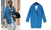 2014 autumn and winter new European and American women's wool coat and long sections loose cocoon coat thick woolen coat