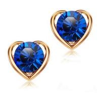 wholesale 18K Gold plated shinning heart luxury austrian crystal earrings fashion Jewelry  2014111321
